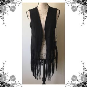 {Blank NYC} Black Faux Suede Fringed Vest