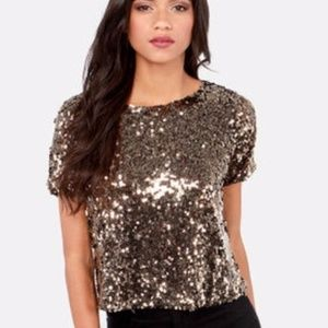 Ark & Co Bronze Gold Sequined Crop Top S