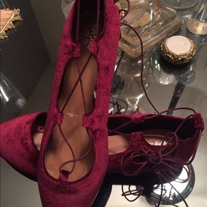 Shoes - Gorgeous Velvet Lace Up Flats💥LAST PAIR💥