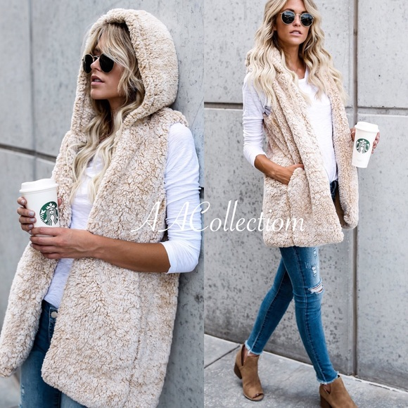 boutique Jackets & Blazers - Soft sherpa vest hoodie pockets gray or beige