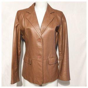 Chadwick's Leather Tan Blazer Vintage SZ 8