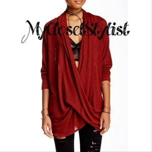 Free People NWT Marl Jersey Wrap Top Sweater! XS/S