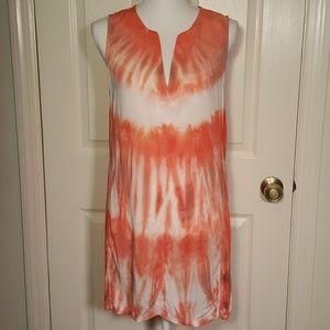 XCVI Orange & White Tie Dye Sleeveless Tunic