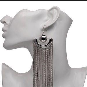 Silver Long wide tassel earrings 15 cm long