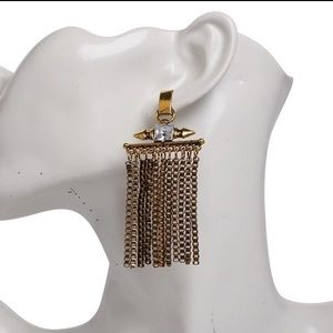 Long wide tassels earrings in silver or gold