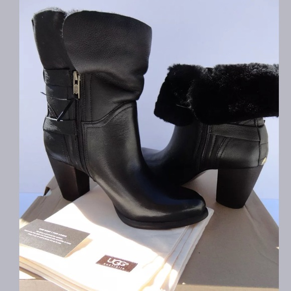 7eafeb8bb0e Ugg Jayne Fold Over Black Leather Boots SZ 10 new! NWT