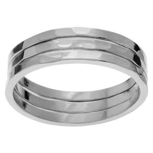 • HP {Boutique} Hammered Silver Ring Set