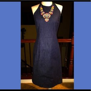 Ann Taylor Denim Halter Dress