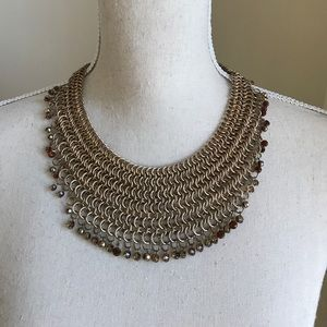 Jewelry - Chain link chainmail gold tone collar bib necklace