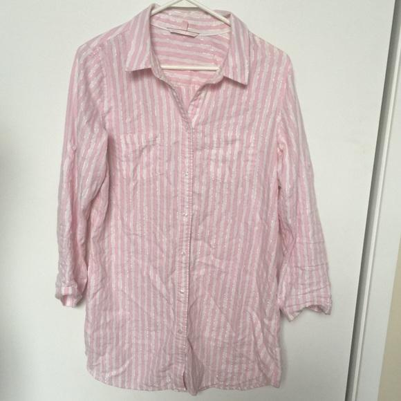 17c9a0aee12c Victoria s Secret Pink Pinstriped pajama gown. M 5a046280d14d7bd38402edb8
