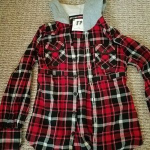 Great free people flannel shirt with hoodie.