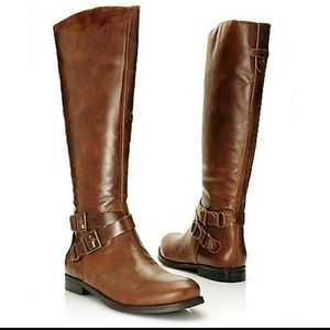 Matisse brown leather buckle riding boots