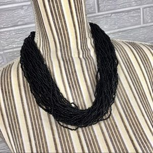 Jewelry - Vintage 80s Black Multi-Chain Seed Bead Necklace