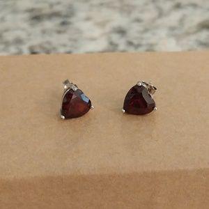 Jewelry - Sterling & Garnet Heart Stud Earrings
