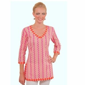 GRETCHEN SCOTT designs zig zag cotton  tunic top m