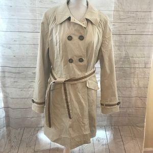 Cynthia rowley trench coat w grosgrain detailing