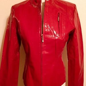 🔥❣️Red Patent Leather Jacket ❣️🔥