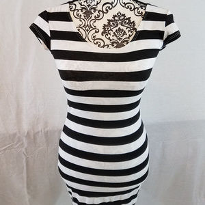 Emma and Sam Black and White Striped Dress