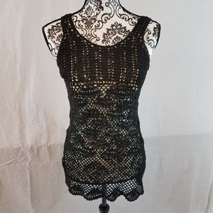 Poof Lace Tank Top Black Size Small