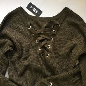 NWT green lace up knitted sweater