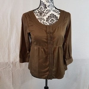 Old Navy Brown Blouse Long Sleeve