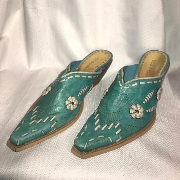 f3bf07de49060 BCBGirls Shoes | Bcbg Turquoise Mule Clogs Cutoff Cowboy Boots 8 ...