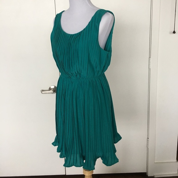 Teal Pleated Ruffle Open Back Party Dress | Poshmark