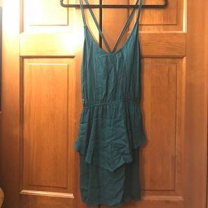 Solemio Cross Back Teal Mini Dress