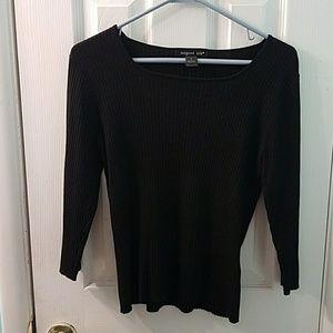 August silk viscose silk blend ribbed sweater