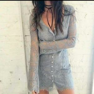 Lace button up dress