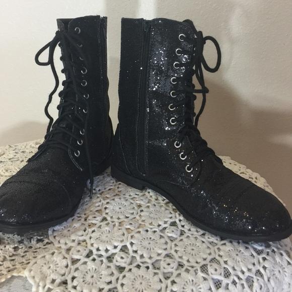 4d26f25cbf9 Balera Shoes - Black Sparkle Combat Boots with Zippers