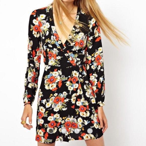a64787e9494 ASOS Floral Wrap Dress With Tulip Skirt