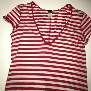 We the Free Red Striped Top xs