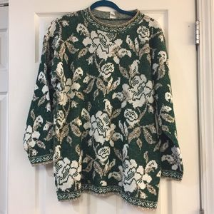 Vintage Metallic Green Sweater