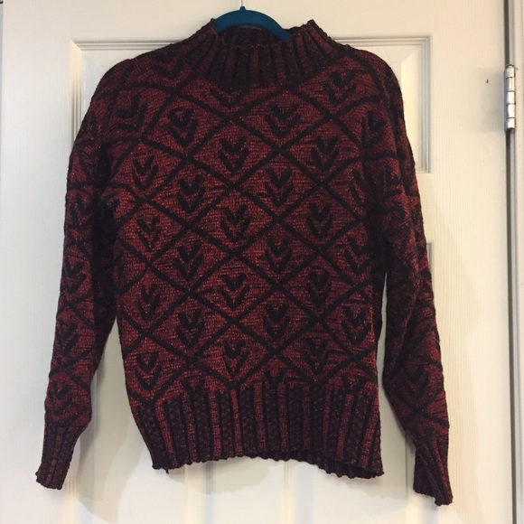 Sweaters - Vintage Metallic Red and Black Sweater