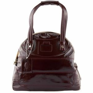Tods Burgundy Patent Leather Satchel (133880)