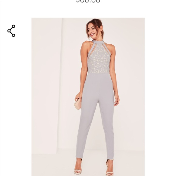 f36ee7dab69 Missguided lace high neck gray Jumpsuit