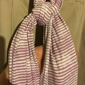 Accessories - Long Purple White Striped Zebra Print Scarf 26x82