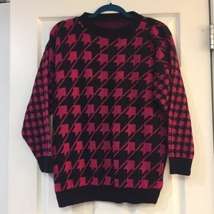 Vintage Pink Houndstooth Sweater