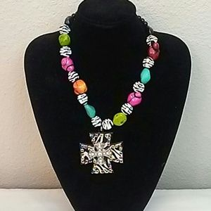 Accessories - Funky flashy cross necklace