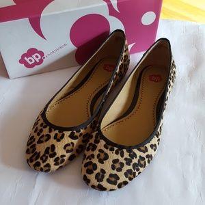 Leopard calf hair flats in box