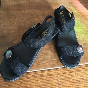 La Plume Black Suede Sandals NEW