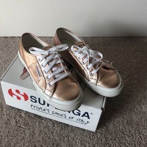 Superga Shoes - Superga Rose Gold Cotmetu Snakers