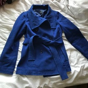 Bright blue double breasted pea coat