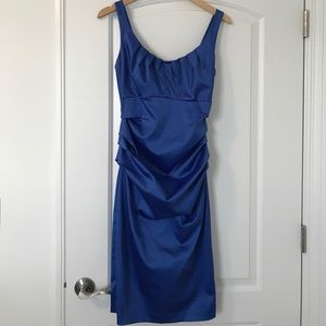 Satin blue cocktail dress