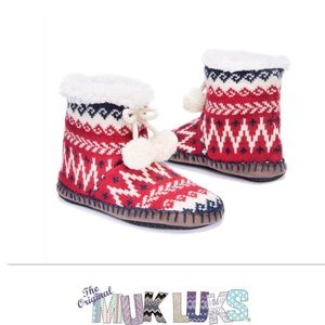 Fair Isle Pom Pom Slipper Boots