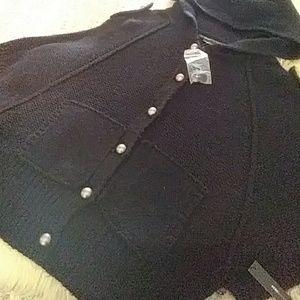 BCBG Black mid sleeve wool sweater sz l