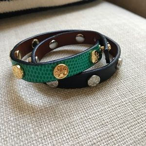1 HR SALE Tory Burch Double Wrap Leather Bracelet