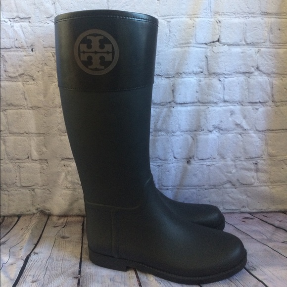 e07f3f9fbc4 New Tory Burch Black Logo Rain Boots 10