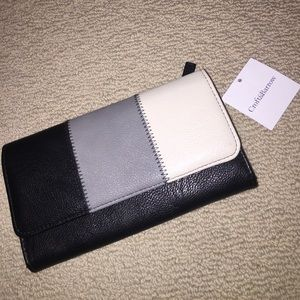 Neutral color block leather wallet NWT